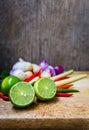 Kaffir lime leaf lemon lemongrass galangal chili onions and still life straw mushroom herb spicy ingredients thai food tom yum Royalty Free Stock Photos