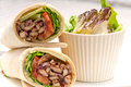 Kafta shawarma chicken pita wrap roll sandwich traditional arab mid east food Stock Images