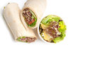 Kafta shawarma chicken pita wrap roll sandwich traditional arab mid east food Stock Photos