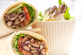 Kafta shawarma chicken pita wrap roll sandwich traditional arab mid east food Royalty Free Stock Photography