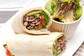Kafta shawarma chicken pita wrap roll sandwich traditional arab mid east food Royalty Free Stock Image