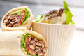 Kafta shawarma chicken pita wrap roll sandwich traditional arab mid east food Royalty Free Stock Images