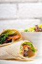 Kafta shawarma chicken pita wrap roll sandwich traditional arab mid east food Stock Photo