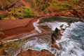 Kaihalulu red sand beach in east maui island hawaii Royalty Free Stock Image