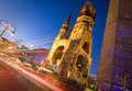Kaiser wilhelm memorial church berlin germany has been bombed during wwii and is now a famous landmark of capital city Stock Image