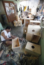 Kajon instrument crafters are completing in solo central java indonesia Stock Photography