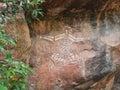Kakadu, Western Australia, 06/10/2013, aboriginal rock art in Nourlangie, Kakadu National park, Northern Territories,  Australia Royalty Free Stock Photo