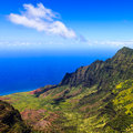 Kalalau valley beautiful in kauai hawaii islands Stock Photography