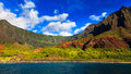Kalalau valley from the ocean beautiful in kauai seen side Stock Photo