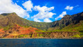 Kalalau valley from the ocean beautiful in kauai seen side Royalty Free Stock Image