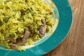 Kalam polow meat and rice with cabbage in the persian language or farsi Royalty Free Stock Photo