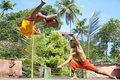 Kalarippayat,fight in air,ancient martial art Royalty Free Stock Images