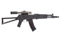 Kalashnikov ak assault rifle with optical sight on white Royalty Free Stock Photo