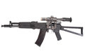 Kalashnikov ak modern assault rifle with optical sight on white Royalty Free Stock Photos
