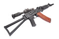 Kalashnikov ak with optical sight on white Royalty Free Stock Photo
