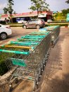 stock image of  Row of shopping trolley
