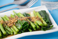 Kale fried in oyster sauce Royalty Free Stock Photo