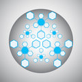 Kaleidoscope of the compounds blue hexagonal gray vector graphics Stock Photo