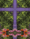 Kaleidoscope cross purple trim wood on house with green leaves and flowers st john s newfoundland canada Royalty Free Stock Photos