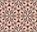 Kaleidoscope seamless pattern. Pink Decorative mandala ornament. Geometric design element. Floral wallpaper, fabric, furniture,