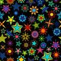 Kaleidoscope stars black background