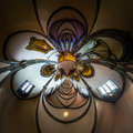 Kaleidoscope view of gothic church interior, little planet effec Royalty Free Stock Photo