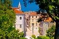 Kalelarga and historic Zadar landmarks view through green frame Royalty Free Stock Photo