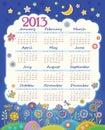 Kalendarz dla 2013. Chmura w nocnym niebie. Childre Fotografia Stock
