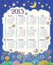Kalendarz dla 2013. Chmura w nocnym niebie. Childre Zdjęcia Royalty Free