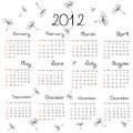 Kalender 2012 mit Löwenzahnstartwerten für zufallsgenerator Stockfotografie