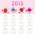 Kalender fruit leuk beeldverhaal gemengd berry vector Stock Fotografie