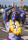 Kali the hindu goddess seattle wa june an unidentified woman with a necklace of skulls plays of empowerment and consort of Stock Photo
