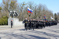 Kaliningrad russia april solemn march of smart calc calculation the garrison on military parade Stock Photos
