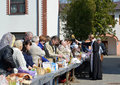 Kaliningrad russia consecration of believers and easter cakes for easter april Royalty Free Stock Image