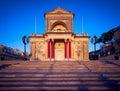 Kalkara Parish Church in sunset light, Malta. Royalty Free Stock Photo