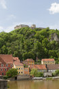 Kallmünz the bavarian city in bavaria on a sunny day in spring the little caste can be seen in the top of the hill Royalty Free Stock Images