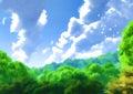 Kalmte forest landscape birds painting scene Stock Foto's