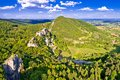 Kalnik mountain ridge and old fortress ruins aerial view Royalty Free Stock Photo