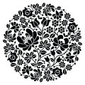 Kalocsai folk art embroidery black hungarian round floral folk pattern vector background traditional monochrome from hungary Royalty Free Stock Photography