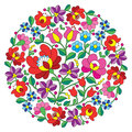 Kalocsai folk art embroidery hungarian round floral folk pattern vector background traditional from hungary isolated on white Stock Photos