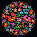 Kalocsai folk art embroidery red hungarian round floral pattern on black vector background traditional from hungary background Royalty Free Stock Photography
