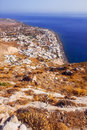 Kamari village as seen from the Ancient Thera ruins, Santorini Royalty Free Stock Photo