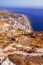 Kamari village as seen from the Ancient Thera ruins, Santorini Royalty Free Stock Photo
