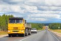 Kamaz bashkortostan russia july yellow semi trailer truck at the interurban road Stock Image