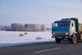 Kamaz truck on road M52 Chuysky Tract in winter season Royalty Free Stock Photo