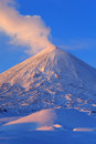 Kamchatka Peninsula: active Klyuchevskoy Volcano at sunrise Royalty Free Stock Photo
