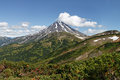 Kamchatka volcanic landscape view of viliuchinsky volcano beautiful on peninsula picturesque at sunny day photo stratovolcano Stock Images