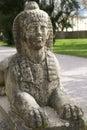 Kamienny sfinks w ogródzie Obraz Royalty Free