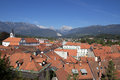 Kamnik slovenia a view of mountains over the roofs of Stock Photo