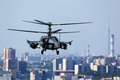 Kamov Ka-52 Alligator attack helicopter pictured over Moscow city in Lyubertsy.